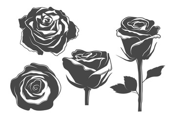Rose icons, vintage and tattoo style illustrations