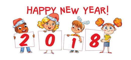 Holding poster New Year 2018. Funny cartoon character