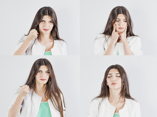 A set of young girl emotions. Casual brunette woman grimacing and gesturing at the camera, on a gray studio background. Positive and negative feelings
