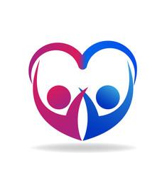 Valentines couple of love heart shape logo vector