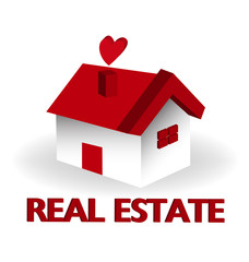 Real estate red house logo vector