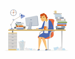 Tired office worker - modern cartoon people characters illustration
