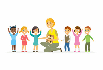 Nursery teacher with children - cartoon people characters isolated illustration