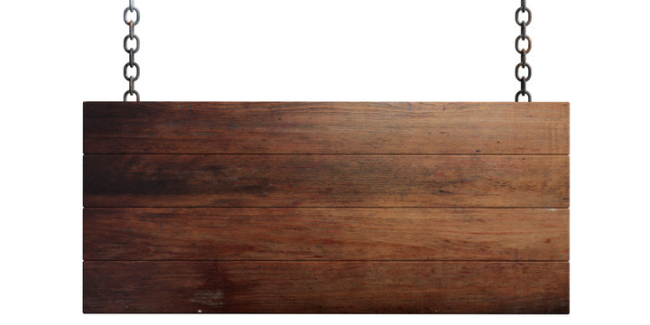 Wooden blank sign isolated on white background. 3d illustration