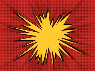 Comic book explosion pop art retro background with halftone dots and speech bubble.