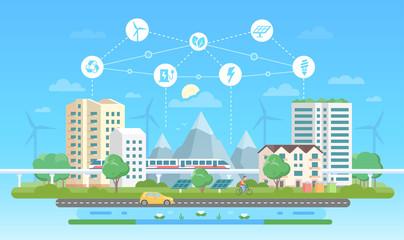 Eco-friendly city - modern flat design style vector illustration
