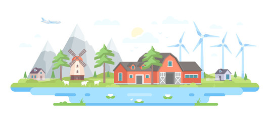 Farm by the mountains - modern flat design style vector illustration