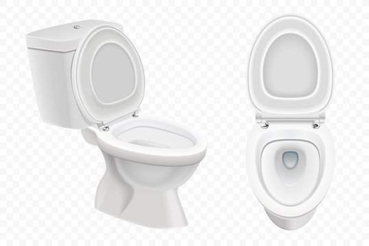 Realistic Toilet bowl mockup, 3d white toilet isolated on alpha transparent background.