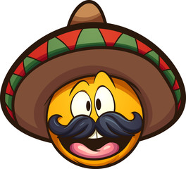 Cartoon Mexican emoticon. Vector clip art illustration with simple gradients. All in a single  layer.