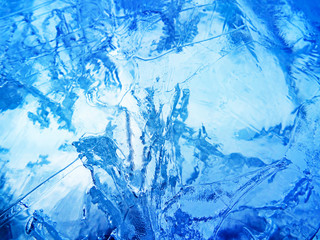 Blue ice. Abstract ice texture.