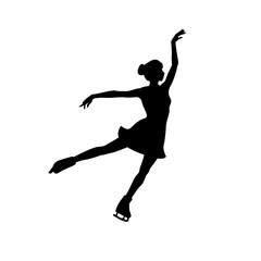 Figure skating girl vector silhouette