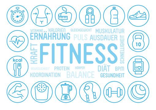 Fitness Konzept. Flat line icons und Symbole