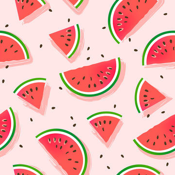 Watermelons pattern. Seamless vector background.