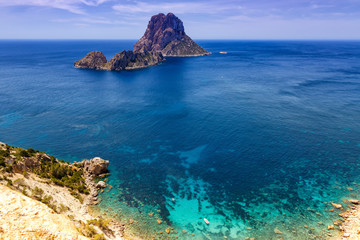 Ibiza Spanien Es Vedra Felsen Insel Reise Meer Bucht Mittelmeer Urlaub