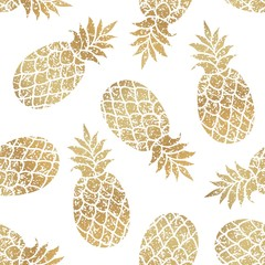 Golden pineapples seamless vector pattern on white background.