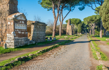 Tuinposter Rudnes The ancient Appian Way (Appia Antica) in Rome.