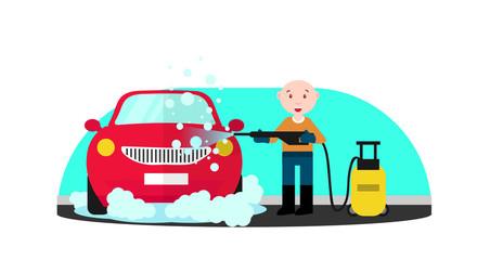 Car wash service. Man in