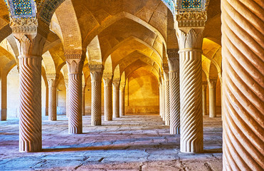 The rows of columns in Vakil mosque, Shiraz, Iran