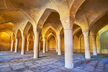Among the columns of Vakil mosque, Shiraz, Iran