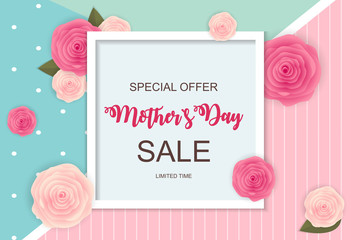 Happy Mother s Day Cute Sale Background with Flowers. Vector Illustration