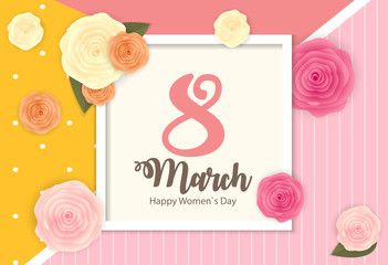Poster International Happy Women's Day 8 March Floral Greeting card Vector Illustration