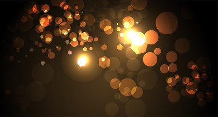 Abstract Yellow and Gold Bokeh Light Background Illustration