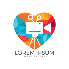 Heart & film or movie cam logo design.
