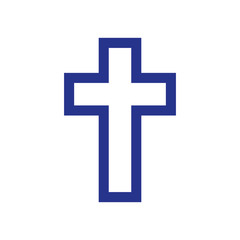 Religion cross icon on white background.