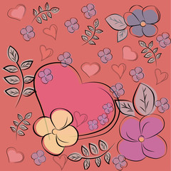 Heart and flowers on a pink background, card for the day of St. Valentine. Vector illustration.