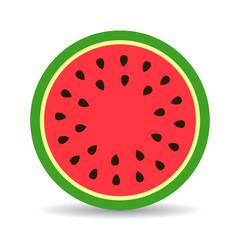 Watermelon round slice vector illustration