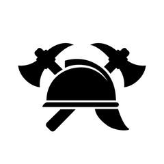 Retro firefighting vector emblem