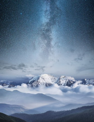 Mountain in the winter at the night time. Natural landscape in the winter time