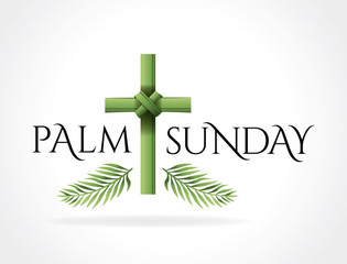 Christian Palm Sunday Cross Theme Illustration