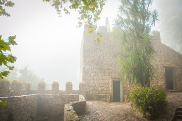 Portugal, Sintra, Hiking moutain path in the fog, forest near Lisbon