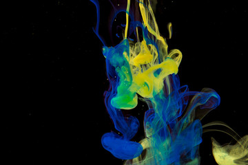 Color paint drops in water. Ink swirling underwater.