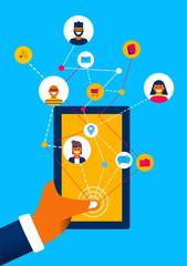 Social media mobile phone app internet connection
