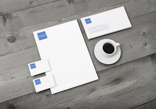 Corporate Identity Set Mockup with Coffee Cup on Wooden Table 1