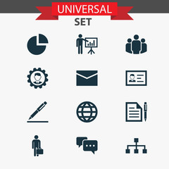 Trade icons set with leader, contract, group and other identification