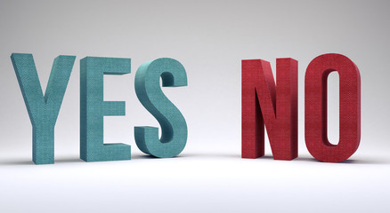 yes or no text 3d render 3d illustration