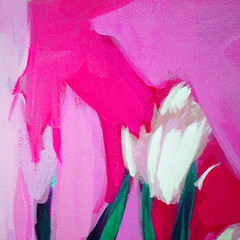 Poster Pink abstract landscape with plants, painting by oil on canvas