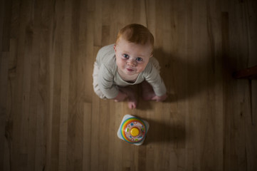 Overhead portrait of cute baby boy with toy sitting on floor at home