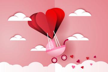 Heart air balloon carries a baby carriage