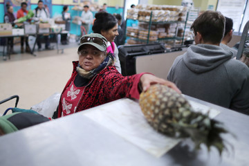 A woman picks a pineapple as she receives food from the St. Francis Center Food Bank in Los Angeles