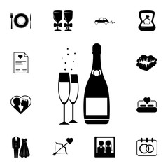 wedding champagne with glasses icon. Set of wedding elements icon. Photo camera quality graphic design collection icons for websites, web design, mobile app