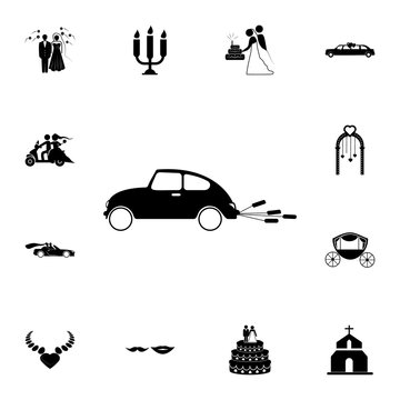 wedding car icon. Set of wedding elements icon. Photo camera quality graphic design collection icons for websites, web design, mobile app