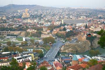 The panoramic view of Tbilisi is the capital of Georgia