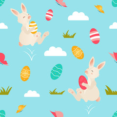 Holiday bright pattern with cute Easter rabbits
