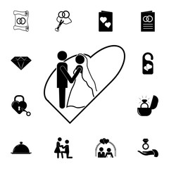 the bride and groom in the heart icon. Set of wedding elements icon. Photo camera quality graphic design collection icons for websites, web design, mobile app