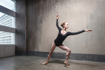 Young adult ballerina rehearsing her classic dance in a gym