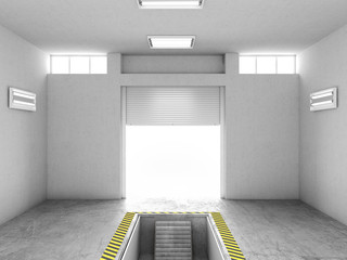 Wall Mural - Interior of an empty garage, with an open repair pit. 3d illustration